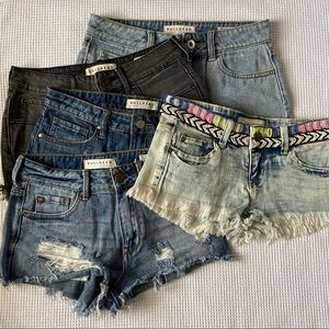 5 Pair Short Denim Jean Shorts Bullhead Sz 24 3